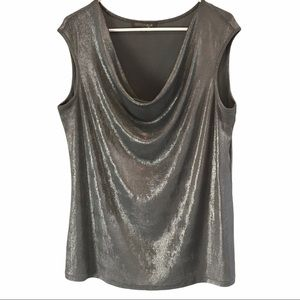 Addition Elle silver cowl neck sleeveless top 1x